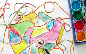 Watercolour Yarn Kids Process Art