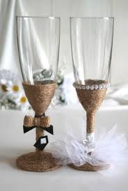 Bride And Groom Rustic Burlap Champagne Glasses