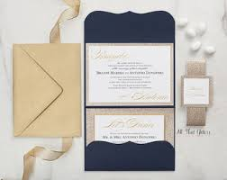 Wedding Invitation In Navy Blue And Gold Glitter Royal Card