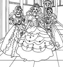 Barbie Three Musketeers Wearing Party Dress Coloring Pages