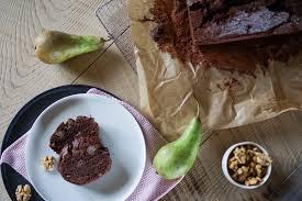schoko birnen kuchen mit walnüssen schlemmerkatze