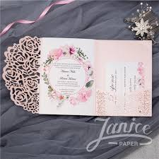 Rose Design Tri Fold Laser Cut Wholesale Wedding Invitation Cards WPFC2122