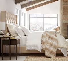 pottery barn s harper upholstered bed mountain chic faux fur