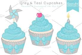 Grey & Teal Cupcake Clipart Illustrations