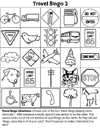 Travel Bingo 2 Coloring Page Road Trip