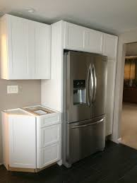 White Wooden Cabinets By Kraftmaid Reviews With Refrigerator For Kitchen Decoration Ideas