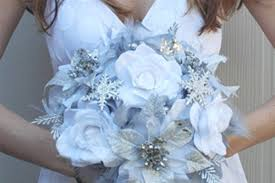 Blue And Silver Wedding Bouquets Hot Winter Color Combos White Ice Tulle Bouquet Flowers