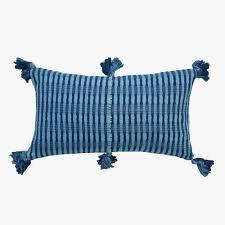 Decorative Lumbar Pillows For Bed by Decorative Lumbar Pillow Tassel Indigo Archive Throw Pillows