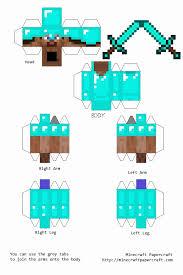 Printable Minecraft Steve Body Elegant Papercraft With Diamond Armor And Sword