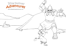 A Coloring Page For Kids From The Story Facing Giant David Fights