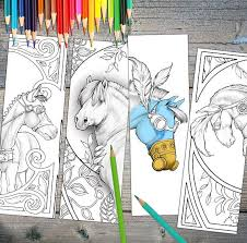 Instant Download Bookmarks Coloring Horse Designs Printable Print These Amazing Drawings And Create Beautiful