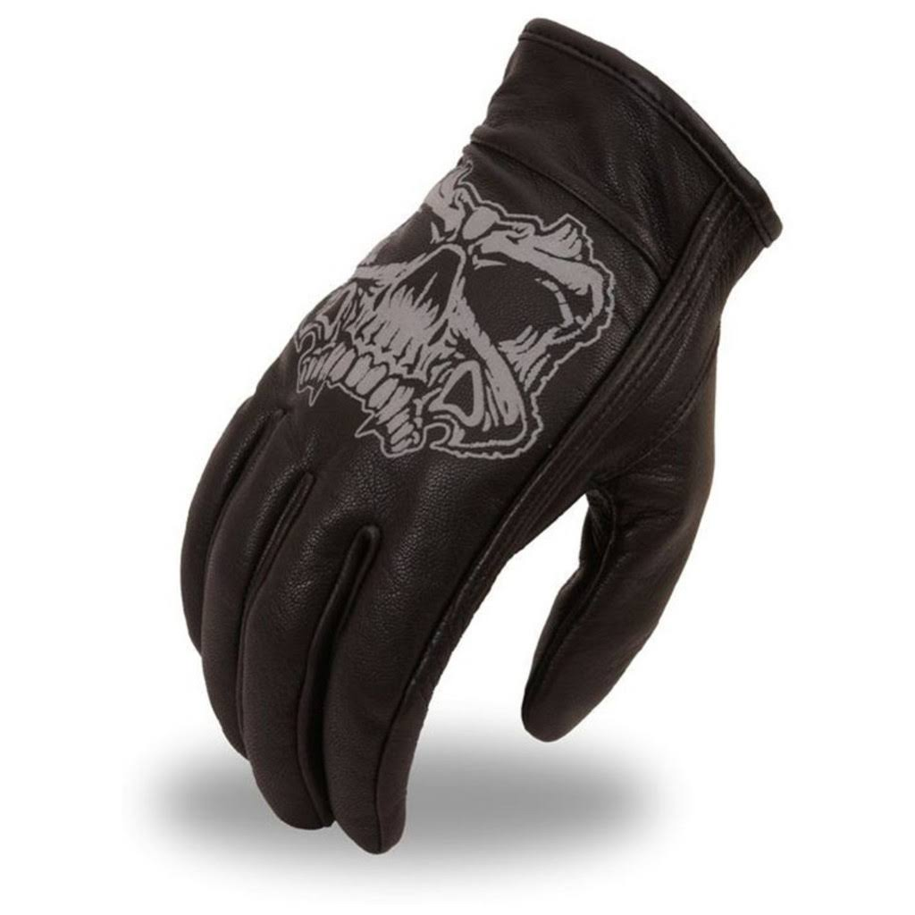 First Manufacturing Men's Short Gloves - Black, Medium, With Reflective Skulls and Gel Palm