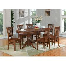 East West VT ESP TP Vancouver Oval Double Pedestal Dining Room Table With 17