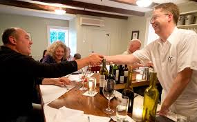 Right Steve Atkins Chef And Co Owner Of The Kitchen Table Bistro In Richmond Greets Eric Warnstedt Hen Wood