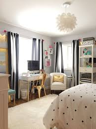 A Teen Bedroom Makeover In Black And White Stripes Polka Dots Accents Of Gold Create This Sophisticated Look With Bedding Accessories Furniture