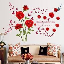Amaonm Fashion Romantic Rose Flower Wall Decals Vines Butterfly Lettering Art Stickers Decor