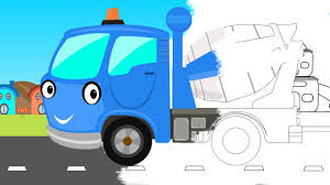 100 Cement Truck Video Coloring Book Construction Vehicle Toy