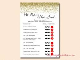 Modern Bridal Shower Games Gold He Said She Red