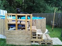 DIY Swimming Pool Dog Pallet Stairs