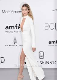 gigi hadid ivory long sleeve evening dress 2015 amfar