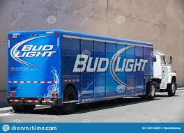100 Bud Light Truck Blue Delivery On The Street In San Francisco