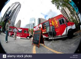 100 Food Trucks In Atlanta Fisheye View Of Customers Standing In Line To Order Meals From Food