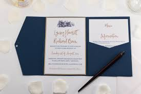 Brig O Doon Wedding Invitation In Navy Blue Pocketfold