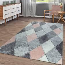 kurzflor teppich wohnzimmer rosa grau rauten muster 3 d