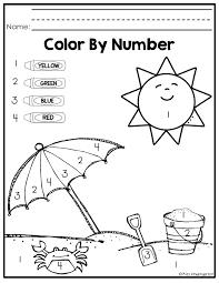 Easy Color By Number Worksheets Easy Color By Number Kindergarten