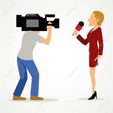 Simple Cartoon Of A Reporter And Cameraman Journalism News Press Theme Stock