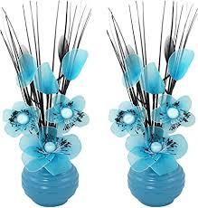 passende paar türkis künstliche blumen mit blau vase deko wohnaccessoires und deko geeignet für bad schlafzimmer oder küche fenster regal 32cm