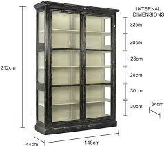 Large Rustic Glass Cabinet In Black Or Cream Image 2