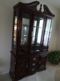 Dark Cherry Wood Dining Room China Hutch Curio Cabinet Early American Colonial