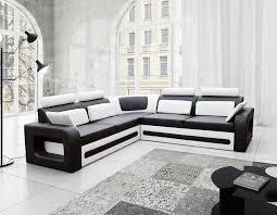 canapé angle polyuréthane canapé d angle convertible noir et blanc avec coffre aglibo