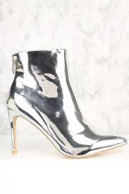 metallic silver shine pointy toe high heel ankle booties faux leather