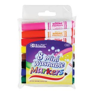Bazic 8 Color Broad Line Mini Washable Markers