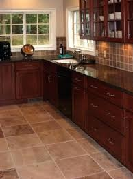 Kitchen Floor Tile Ideas With Dark Cabinets Brown Ceramic Flooring Simple White