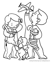 Happy Children Christmas Morning Coloring Sheet