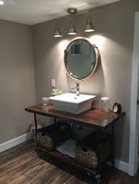 Small Basement Washroom Remodel Rustic DIY 2x4 Stained Wood Countertop With Pipe Leg Raised