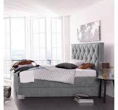 graues boxspringbett in elegantem schlafzimer otto de