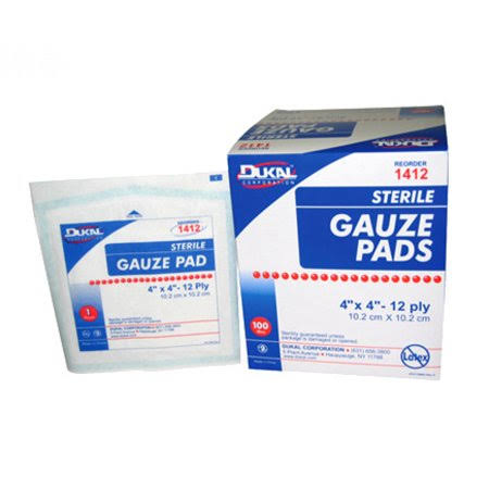 Dukal Gauze Pads, Sterile - 3 inch x 3 inch, 12 Ply, Case (2400 ct)