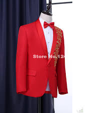 High Quality Blue Black Red White Long Sleeve Gold Embroidery Stand Collar Bridegroom Groomsmen Suit In Suits From Weddings Events On Aliexpress