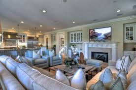 Stylish Recessed Lighting With Exclusive Sofa Set For Traditional Living Room Ideas Modern TV And Charming White Fireplace