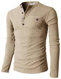 h2h mens casual slim fit henley shirts with bound pocket of waffle