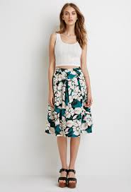forever 21 floral a line midi skirt in blue lyst