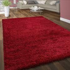hochflor teppich kuschelig uni farben rot