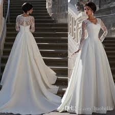 Ball Gown 2017 Newest Wedding Dresses V Neck Long Sleeves Appliques Lace Satin Gowns See Through Back Vintage Bridal Dress With