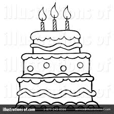 Royalty Free RF Birthday Cake Clipart Illustration by Hit Toon Stock Sample