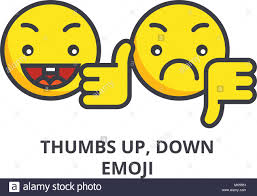 Thumbs Up Down Emoji Vector Line Icon Sign Illustration On Background Editable Strokes