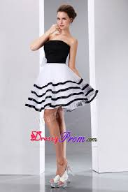 line knee length hand flower prom dress in black and white